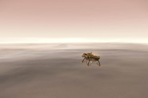 Illustration showing a simulated view of NASA's InSight lander firing retrorockets as it descends toward the surface of Mars. (NASA/JPL-Caltech)