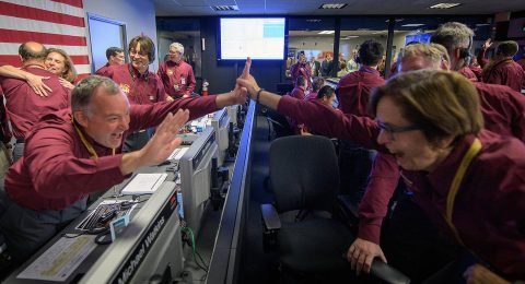 Tom Hoffman, InSight Project Manager, NASA JPL, left, and Sue Smrekar, InSight deputy principal investigator, NASA JPL, react after receiving confirmation that the Mars InSight lander successfully touched down on the surface of Mars, Monday, Nov. 26, 2018 inside the Mission Support Area at NASA's Jet Propulsion Laboratory in Pasadena, California. (NASA/Bill Ingalls)