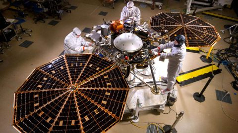 NASA's InSight Mars Lander in fully landed configuration in the clean room at Lockheed Martin Space in Littleton, Colorado. Once the solar arrays are fully deployed on Mars, they can provide 600-700 watts on a clear day, or just enough to power a household blender. (Lockheed Martin)