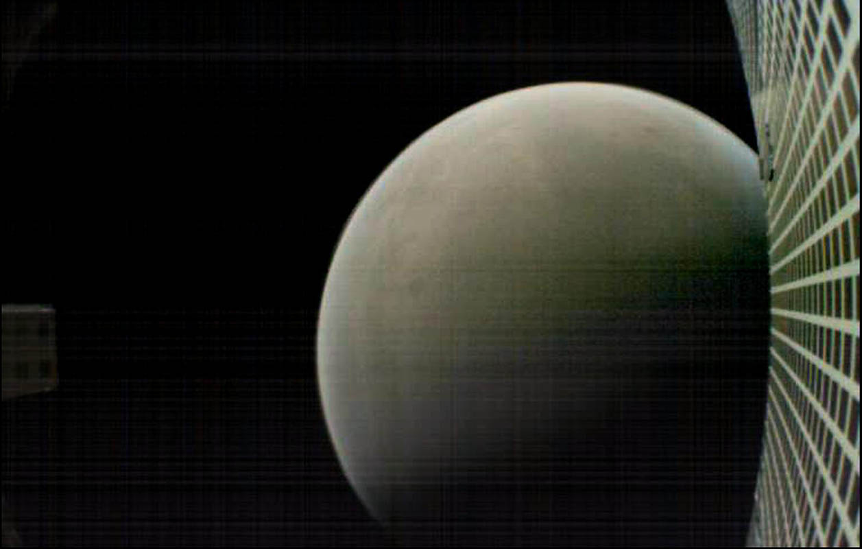 MarCO-B, one of the experimental Mars Cube One (MarCO) CubeSats, took this image of Mars from about 4,700 miles (7,600 kilometers) away during its flyby of the Red Planet on Nov. 26, 2018. MarCO-B was flying by Mars with its twin, MarCO-A, to attempt to serve as communications relays for NASA's InSight spacecraft as it landed on Mars. (NASA/JPL-Caltech)
