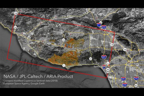 The Advanced Rapid Imaging and Analysis (ARIA) team at NASA's Jet Propulsion Laboratory in Pasadena, California, created these Damage Proxy Maps (DPMs) depicting areas in California likely damaged by the Woolsey and Camp Fires. (NASA/JPL-Caltech)