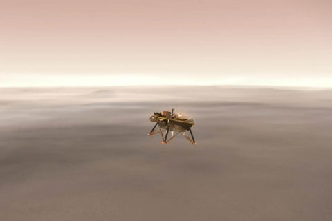 This illustration shows a simulated view of NASA's Interior Exploration using Seismic Investigations, Geodesy and Heat Transport (InSight) lander firing retrorockets to slow down as it descends toward the surface of Mars. (NASA/JPL-Caltech)