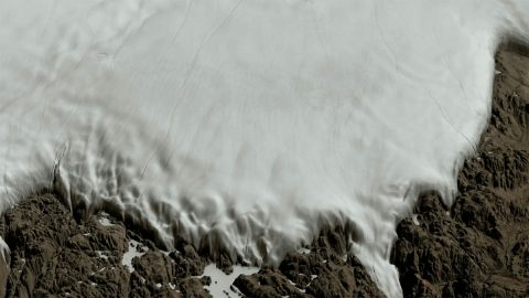 View of the Hiawatha crater region covered by the Greenland Ice Sheet. (NASA/Cindy Starr)