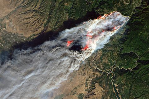 An image of the Camp Fire on November 8th from the Landsat 8 satellite. (USGS/NASA/Joshua Stevens)