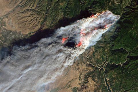 An image of the Camp Fire on November 8th from the Landsat 8 satellite. (USGS/NASA/Joshua Stevens)