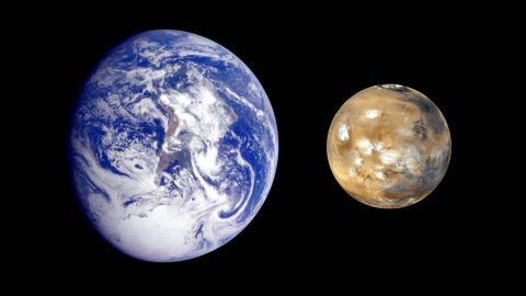 This composite image of Earth and Mars was created to allow viewers to gain a better understanding of the relative sizes of the two planets. (NASA/JPL-Caltech)