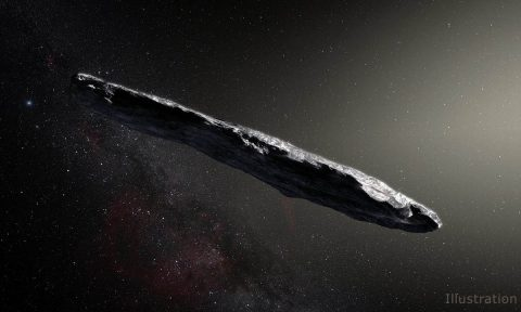 An artist's concept of interstellar asteroid 1I/2017 U1 ('Oumuamua) as it passed through the solar system after its discovery in October 2017. Observations of 'Oumuamua indicate that it must be very elongated because of its dramatic variations in brightness as it tumbled through space. (European Southern Observatory / M. Kornmesser)
