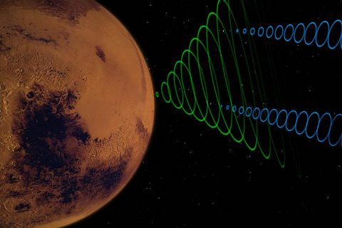 This image depicts the MarCO CubeSats relaying data from NASA's InSight lander as it enters the Martian atmosphere. (NASA/JPL-Caltech)