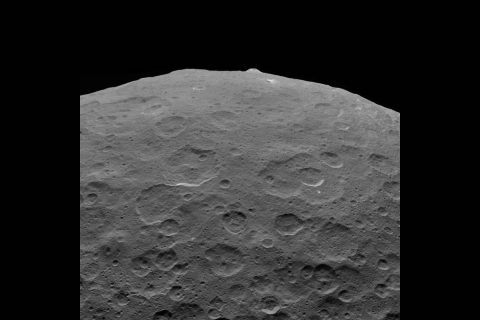 This photo of Ceres and the bright regions of Occator Crater was one of the last views NASA's Dawn spacecraft transmitted before it completed its mission. This view, which faces south, was captured on Sept. 1 at an altitude of 2,340 miles (3,370 kilometers) as the spacecraft was ascending in its elliptical orbit. (NASA/JPL-Caltech/UCLA/MPS/DLR/IDA)