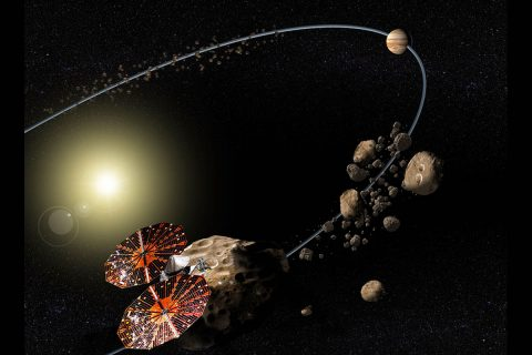 Conceptual image of the NASA Lucy mission to the Jupiter Trojan asteroids. (NASA/SwRI)