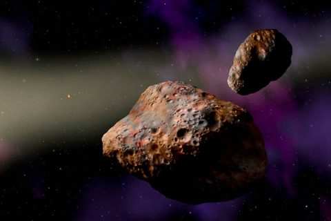 SwRI scientist studied the binary asteroid Patroclus-Menoetius, shown in this artist's conception, to determine that a shake-up of the giant planets likely happened early in the solar system's history, within the first 100 million years.(Image Courtesy of W.M. Keck Observatory/Lynette Cook)