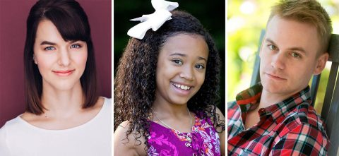 """Mia Bergstrom as Doris Walker, Ellie Thomas as Susan Walker and Stephen Shore as Fred Gaily star in Meredith Willson's """"Miracle on 34th Street"""" at the Roxy Regional Theatre, November 22nd - December 22nd."""