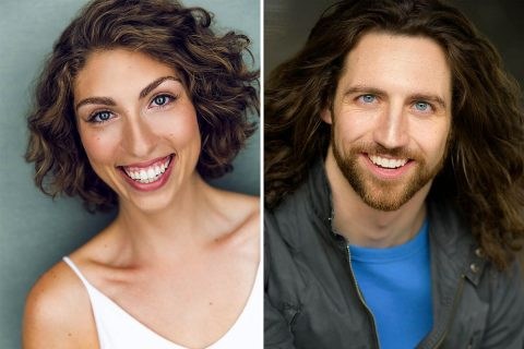 """Molly O'Brien and Drew Stairs star as """"Lysistrata"""" and Archon in Aristophanes' """"Lysistrata"""" at the Roxy Regional Theatre, November 2nd - November 10th."""