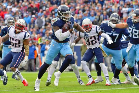 Tennessee Titans running back Derrick Henry (22) rushes for a touchdown against the New England Patriots during the first half at Nissan Stadium. (Jim Brown-USA TODAY Sports)