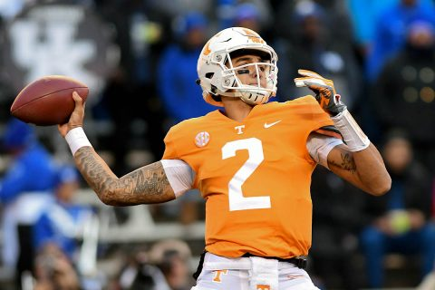 Tennessee Volunteers quarterback Jarrett Guarantano (2) passes the ball against the Kentucky Wildcats during the first half at Neyland Stadium. (Randy Sartin-USA TODAY Sports)