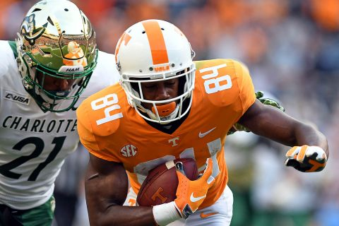 Tennessee Volunteers wide receiver Josh Palmer (84) runs with the ball against Charlotte 49ers linebacker Juwan Foggie (21) at Neyland Stadium. Tennessee won 14 to 3. (Randy Sartin-USA TODAY Sports)