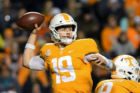 Tennessee Volunteers quarterback Keller Chryst (19) passes the ball against the Missouri Tigers during the second half at Neyland Stadium. Missouri won 50-17. (Randy Sartin-USA TODAY Sports)