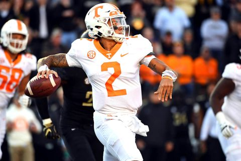 Tennessee Volunteers quarterback Jarrett Guarantano (2) throws a pass during the first half against the Vanderbilt Commodores at Vanderbilt Stadium. (Christopher Hanewinckel-USA TODAY Sports)