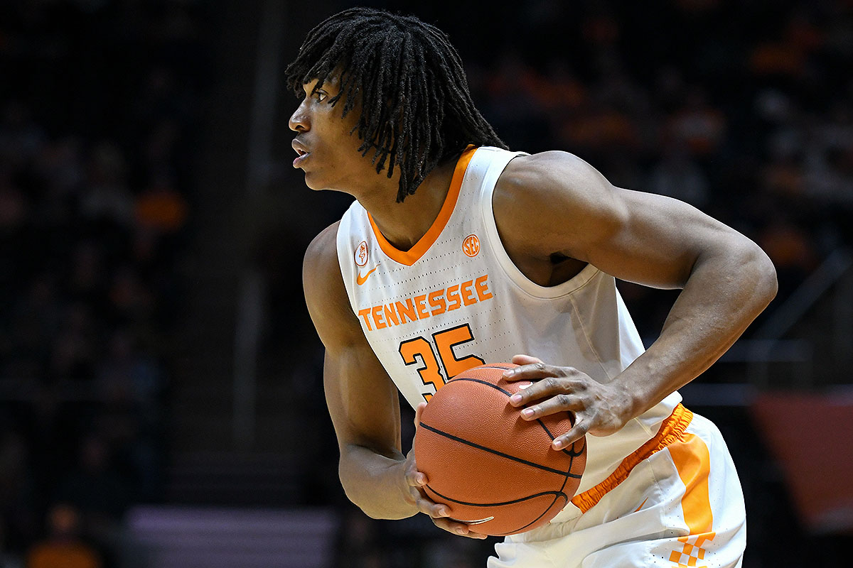 Tennessee Volunteers forward Yves Pons (35) controls the ball during the second half against the Eastern Kentucky Colonels at Thompson-Boling Arena. Tennessee won 95-67. (Randy Sartin-USA TODAY Sports)