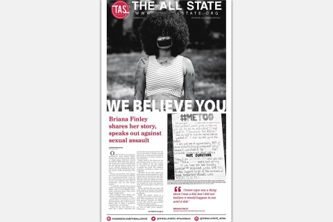 APSU's Celeste Malone's #MeToo front page design for The All State.