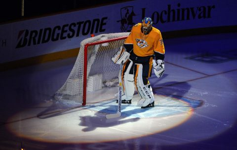 Nashville Predators goaltender Pekka Rinne (35). (Christopher Hanewinckel-USA TODAY Sports)