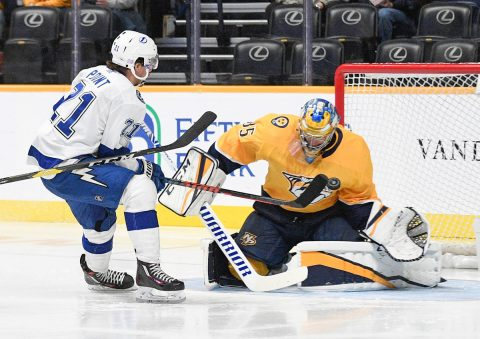 Nashville Predators goaltender Pekka Rinne (35) makes a save against Tampa Bay Lightning center Brayden Point (21) during the second period at Bridgestone Arena. (Steve Roberts-USA TODAY Sports)