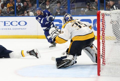 Tampa Bay Lightning right wing Ryan Callahan (24) shoots on goal as Nashville Predators goaltender Pekka Rinne (35) defends during the second period at Amalie Arena. Mandatory Credit: Kim Klement-USA TODAY Sports