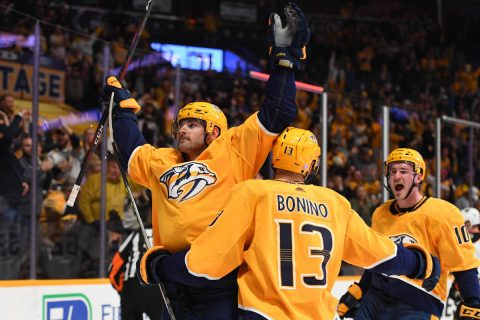 Nashville Predators left wing Austin Watson (51) celebrates with Nashville Predators center Nick Bonino (13) and Nashville Predators center Colton Sissons (10) after a goal during the first period against the Anaheim Ducks at Bridgestone Arena. (Christopher Hanewinckel-USA TODAY Sports)
