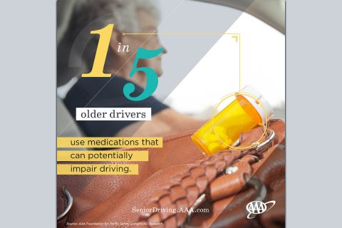 1 in 5 Older Drives use medications that can potentially impair driving. (AAA)