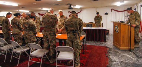 Army Chaplain Capt. Ryan Luchan, with the 495th Combat Support Sustainment Brigade from the Montana National Guard, gives the innovation at the 101st Resolute Support Sustainment Brigade Prayer dinner at Bagram Airfield, Afghanistan.  (1st Lt. Verniccia Ford, 101st Airborne Division (AA) Sustainment Brigade Public Affairs)