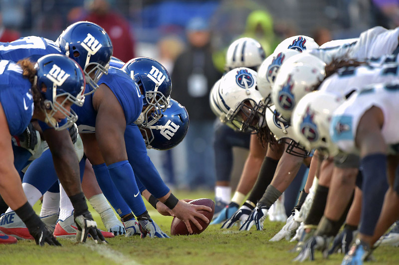 The New York Giants offense lines up against the Tennessee Titans defense during the second half at LP Field. The Giants beat the Titans 36-7. (Don McPeak-USA TODAY Sports)