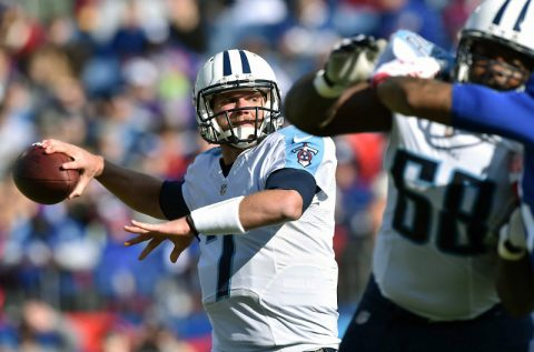 Tennessee Titans quarterback Zach Mettenberger (7) passes against the New York Giants during the first half at LP Field. (Don McPeak-USA TODAY Sports)
