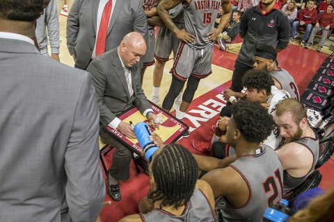 Austin Peay Men's Basketball goes toe to toe with Arkansas Friday night at Bud Walton Arena. (APSU Sports Information)