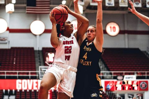 Austin Peay Women's Basketball get out to 14 point lead only to lose to Western Illinois, 77-72. (APSU Sports Information)