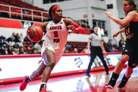 Austin Peay Women's Basketball unable to get on track Tuesday night in 56-52 loss at Evansville. (APSU Sports Information)