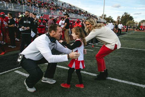 APSU interim head Football coach Joshua Eargle recieves Rare Disease Champion Award by Uplifting Athletes organization. (APSU Sports Information)