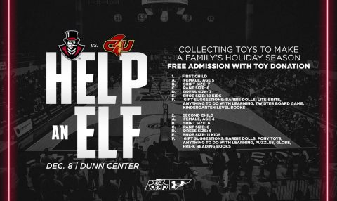 Help-An-Elf toy drive will be at this Saturday Austin Peay Men's Basketball game against Calvary at the Dunn Center. (APSU Sports Information)