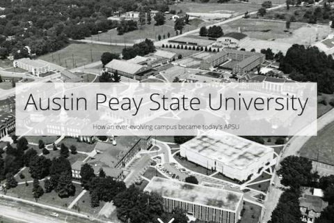 APSU student Rachael Perkins uses old photos to create a story map about Austin Peay State University.