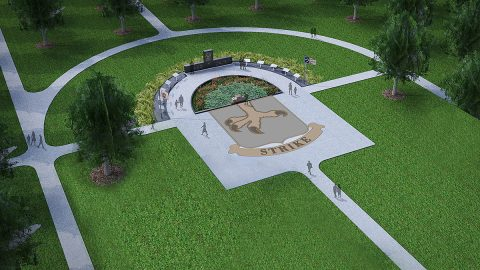 The new Task Force 3-502nd Memorial site will feature two sugar maples standing on either side of the black granite monuments representing the commander and the command sergeant major of Task Force 3-502nd – Lt. Col. Marvin Jeffcoat and Command Sgt. Maj. Hasland O. Black. (Courtesy Graphic)