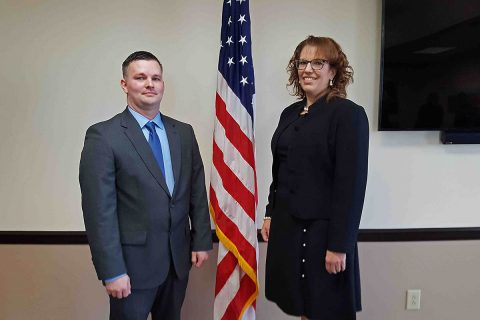 (L to R) CPD Officer Joshua Billotte and Laurie Matta, Director of Finance.