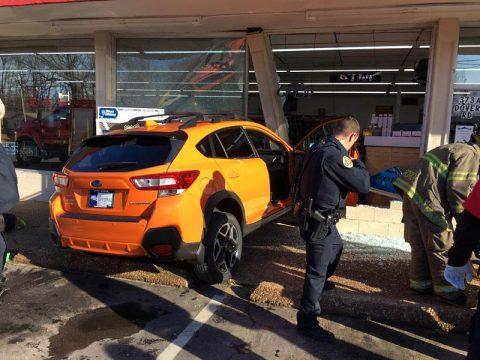 Woman crashes car into Discount Tobacco today. (Sgt Ferguson)