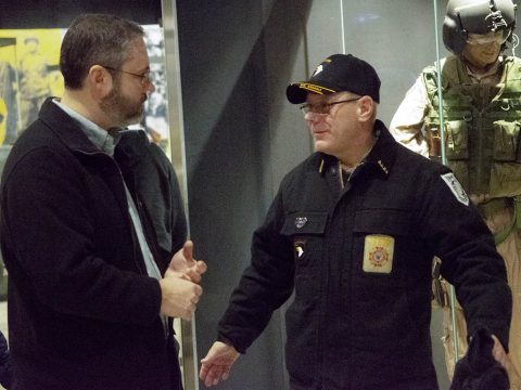 Jeremy Rains (left) speaks with Frank Moore Wednesday, Dec. 12, 2018, during a reception at the Brig. Gen. Don F. Pratt Memorial Museum, Fort Campbell, Kentucky. The reception was part of the final remembrance ceremony at Task Force 3-502nd Memorial Park. (Maria Rice McClure, Fort Campbell Courier/Fort Campbell Public Affairs)