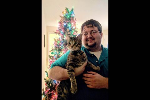 APSU student Scott Shumate adopted Wilf from Paws to Care.