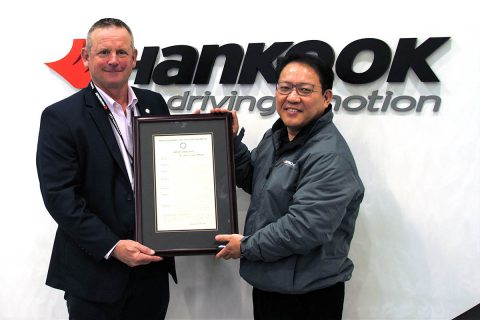 (L to R) Montgomery County Mayor Jim Durrett presents Hankook Plant Manager Alex Jeon with the proclamation.