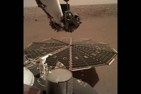 One of the NASA Mars InSight Lander's 7-foot (2.2 meter) wide solar panels was imaged by the lander's Instrument Deployment Camera, which is fixed to the elbow of its robotic arm. (NASA/JPL-Caltech)