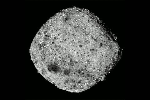 This image taken by the OSIRIS-REx spacecraft shows Bennu from a distance of around 50 miles (80 km). The spacecraft's PolyCam camera obtained the thirty-six 2.2-millisecond frames over a period of four hours and 18 minutes. (NASA's Goddard Space Flight Center/University of Arizona)