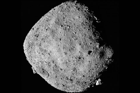 This mosaic image of asteroid Bennu is composed of 12 PolyCam images collected on Dec. 2 by the OSIRIS-REx spacecraft from a range of 15 miles (24 km). (NASA/Goddard/University of Arizona)
