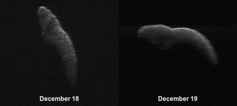 These two radar images of near-Earth asteroid 2003 SD220 were obtained on December 18th and 19th by coordinating observations with the Arecibo Observatory's 1,000-foot (305-meter) antenna in Puerto Rico and the National Science Foundation's (NSF) 330-foot (100-meter) Green Bank Telescope in West Virginia. The radar images reveal the asteroid is at least one mile (1.6 kilometers) long. (NASA/Arecibo/USRA/UCF/GBO/NSF)