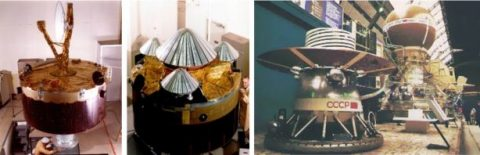Left: Pioneer Venus Orbiter during assembly. Middle: Pioneer Venus Multiprobe undergoing final assembly and checkout. Right: Model of the Venera 11 and 12 lander (left) and entire spacecraft (right). (NASA)