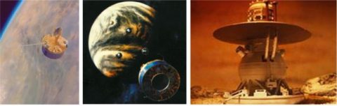 Left: Illustration by Paul Hudson of Pioneer Venus Orbiter in orbit around Venus. Middle: Illustration by Paul Hudson of Pioneer Venus Multiprobe releasing its probes as it approaches Venus. Right: Illustration of a Venera lander on the surface of Venus. (NASA)